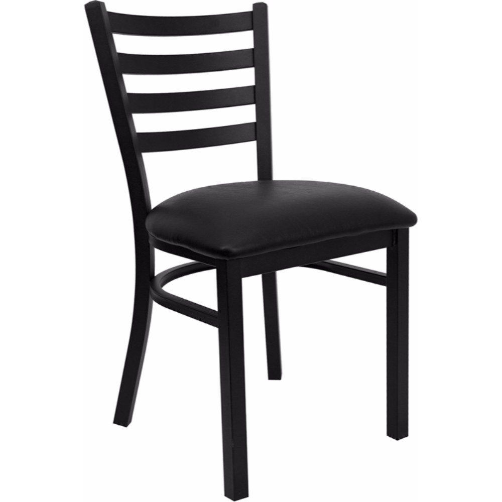 Offex HERCULES Series Black Ladder Back Metal Restaurant Chair - Black Vinyl Seat [XU-DG694BLAD-BLKV-GG]