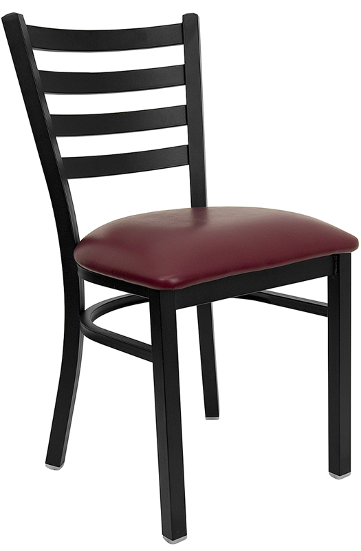 Offex HERCULES Series Black Ladder Back Metal Restaurant Chair - Burgundy Vinyl Seat [XU-DG694BLAD-BURV-GG]