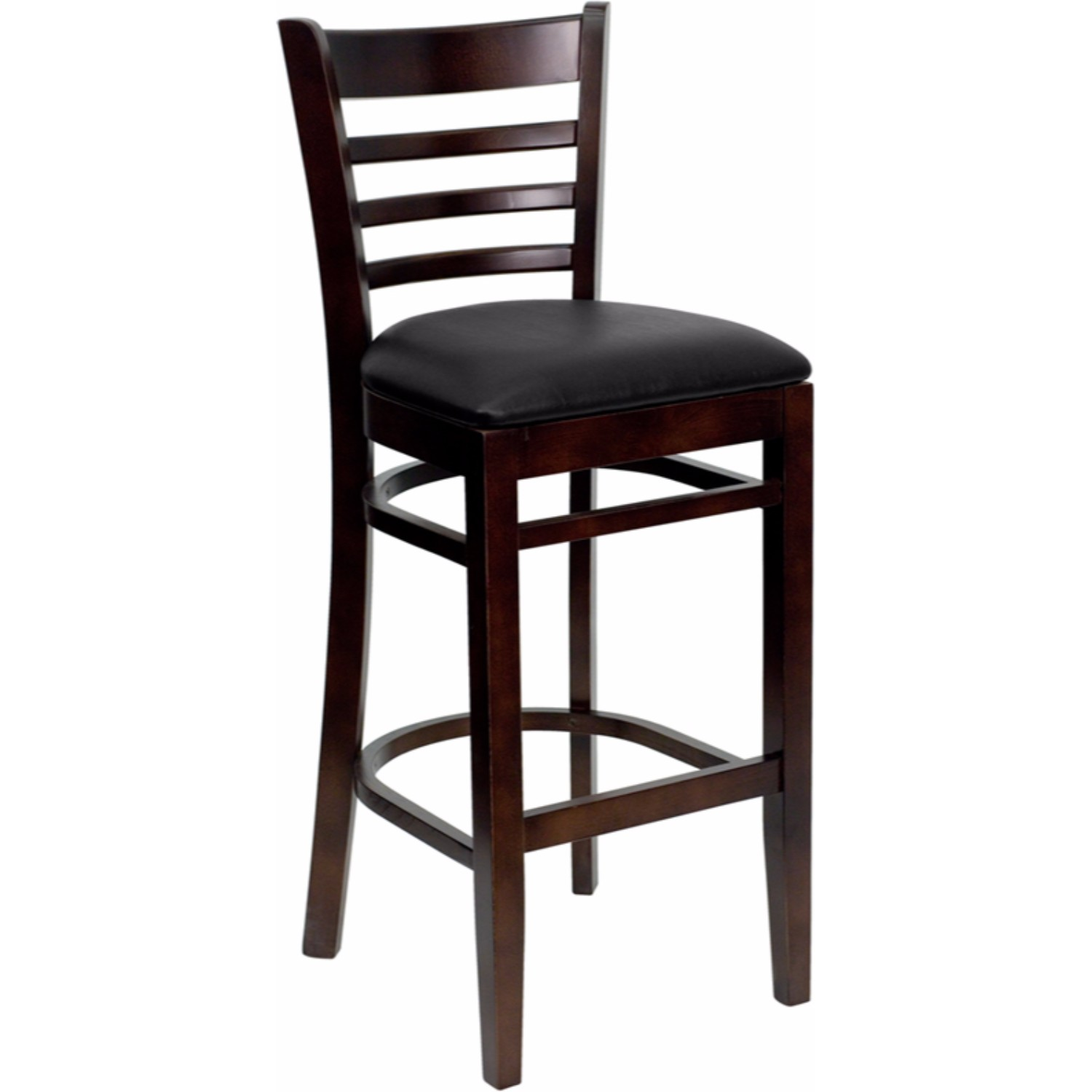 Offex HERCULES Series Walnut Finished Ladder Back Wooden Restaurant Bar Stool Black