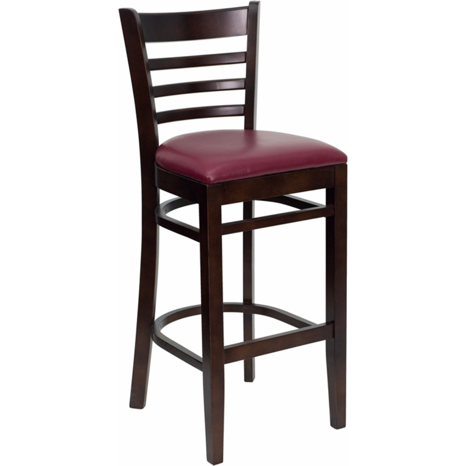 Offex HERCULES Series Walnut Finished Ladder Back Wooden Restaurant Bar Stool Burugundy