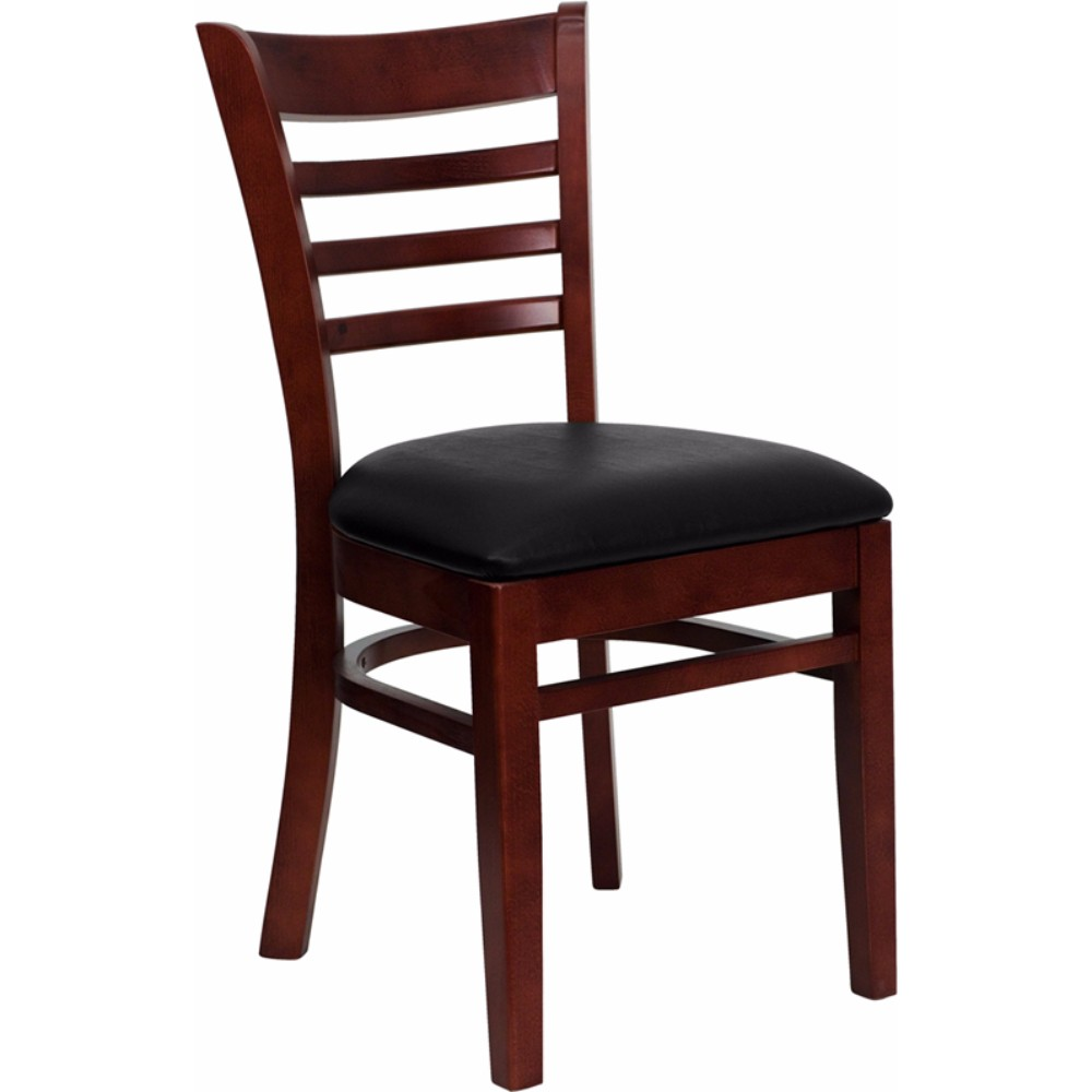 Offex HERCULES Series Mahogany Finished Ladder Back Wooden Restaurant Chair - Black Vinyl Seat [XU-DGW0005LAD-MAH-BLKV-GG]