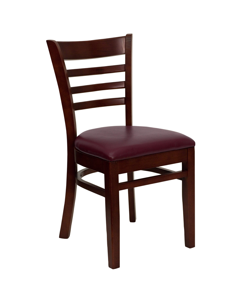 Offex HERCULES Series Mahogany Finished Ladder Back Wooden Restaurant Chair - Burgundy Vinyl Seat [XU-DGW0005LAD-MAH-BURV-GG]