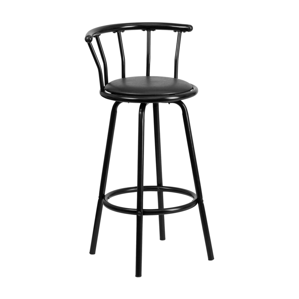 Flash Furniture Crown Back Black Metal Bar Stool With
