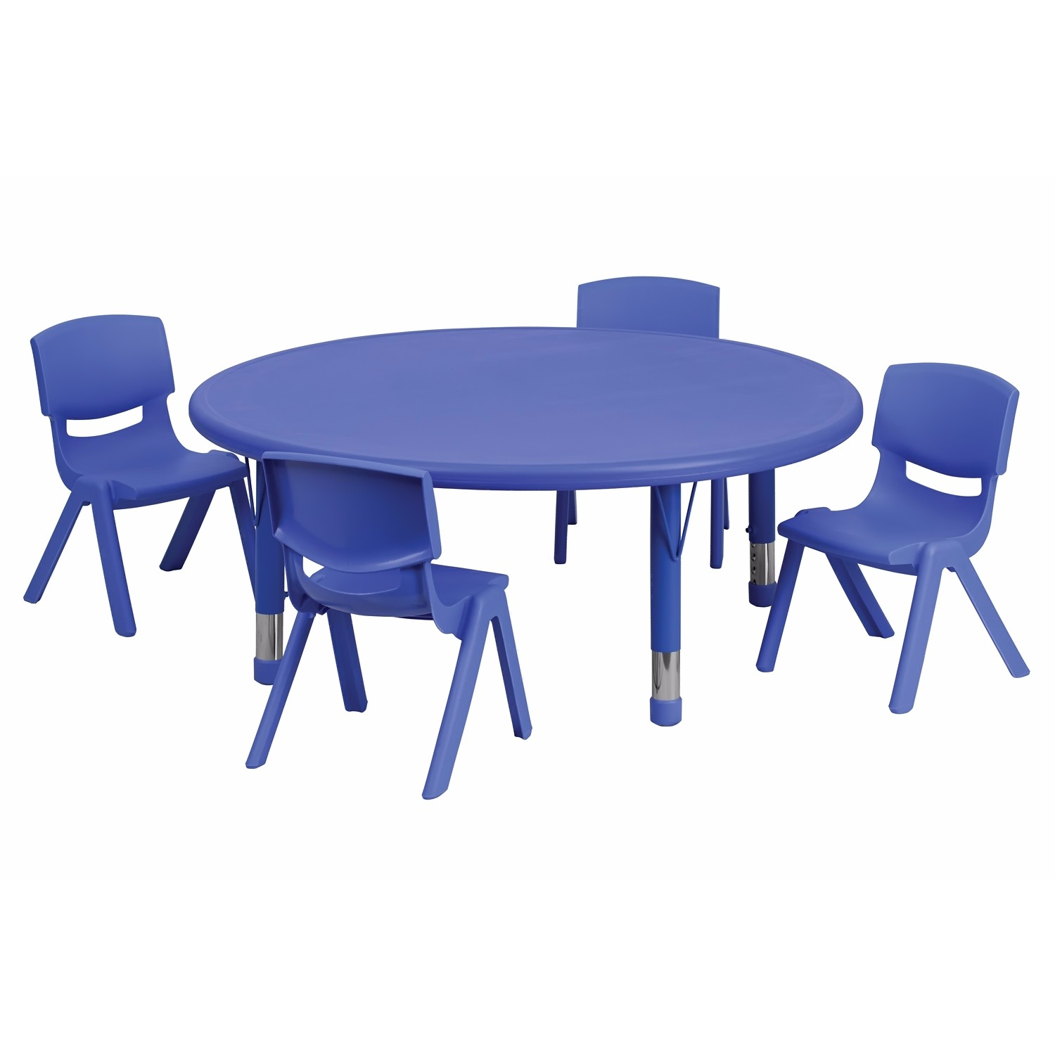 Flash Furniture 45'' Round Adjustable Blue Plastic Activity Table Set with 4 School Stack Chairs [YU-YCX-0053-2-ROUND-TBL-BLUE-E-GG] at Sears.com