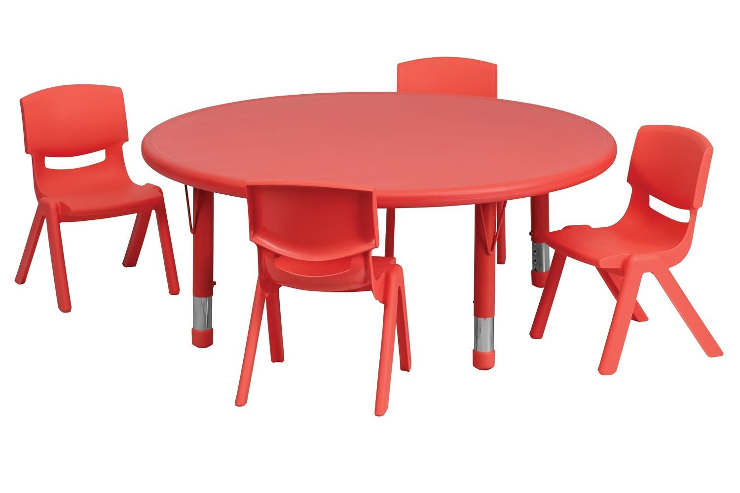 Flash Furniture 45'' Round Adjustable Red Plastic Kids Activity Table Set With 4 School Stack Chairs at Sears.com