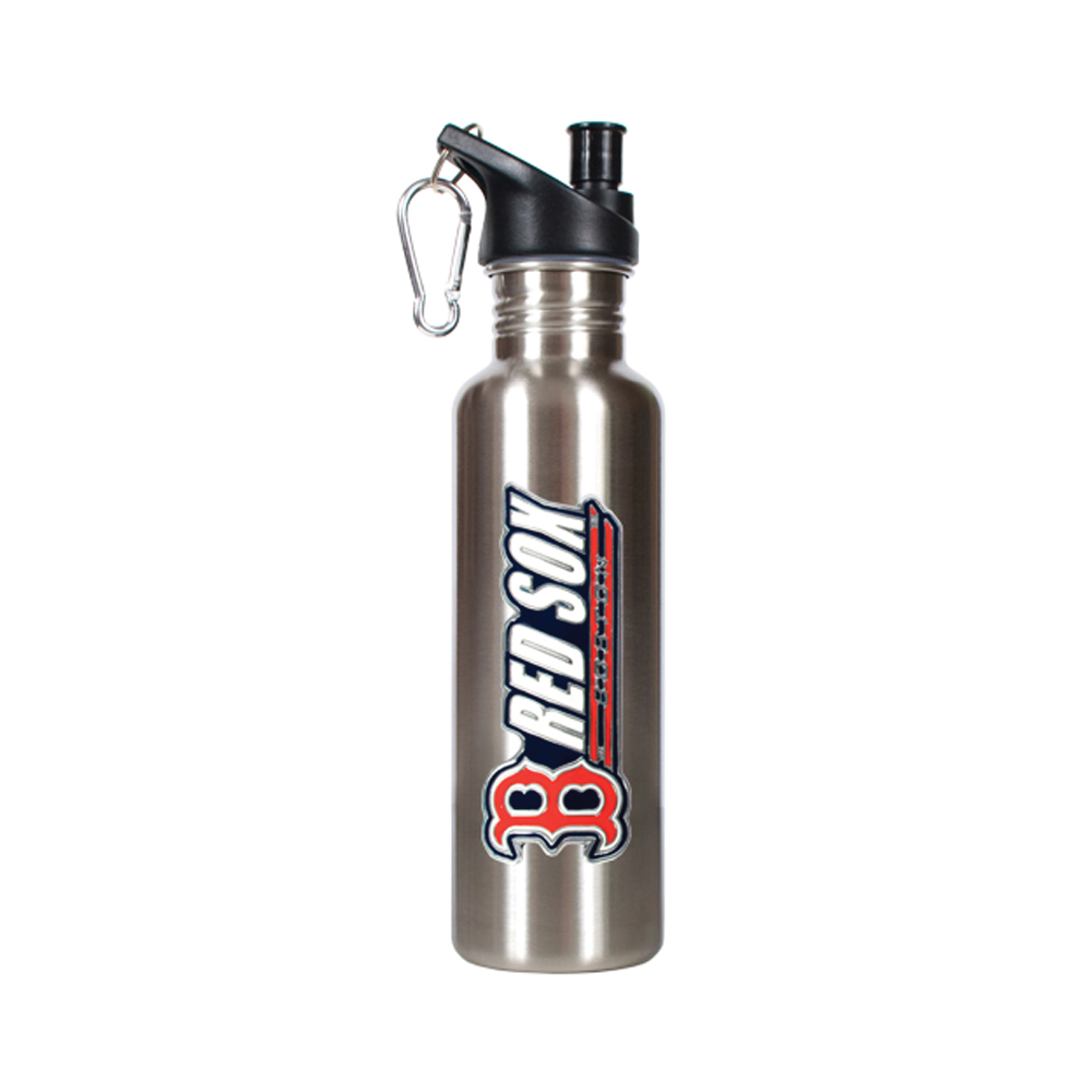 Great American Produ MLB Boston Red Sox Travel Sports Team Logo Stainless Steel Water Bottle Silver