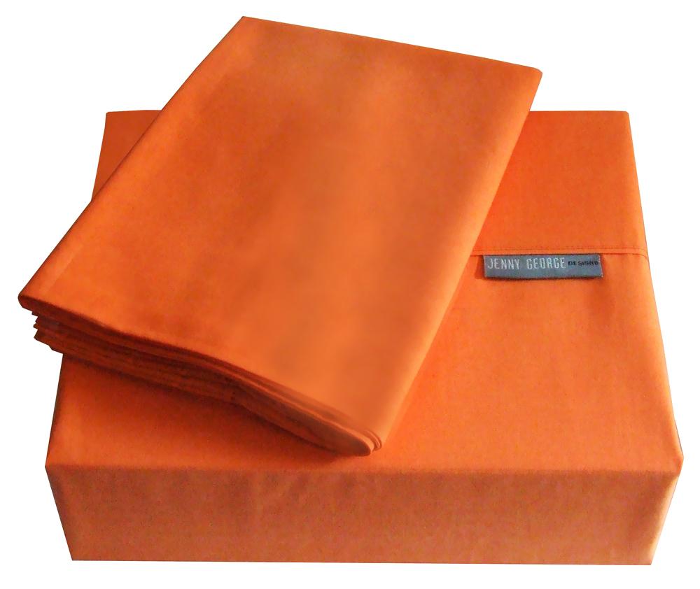 Jenny George Home Decorative Designer 200 Thread Count Solid Color Bright Sheet Set Orange King at Sears.com