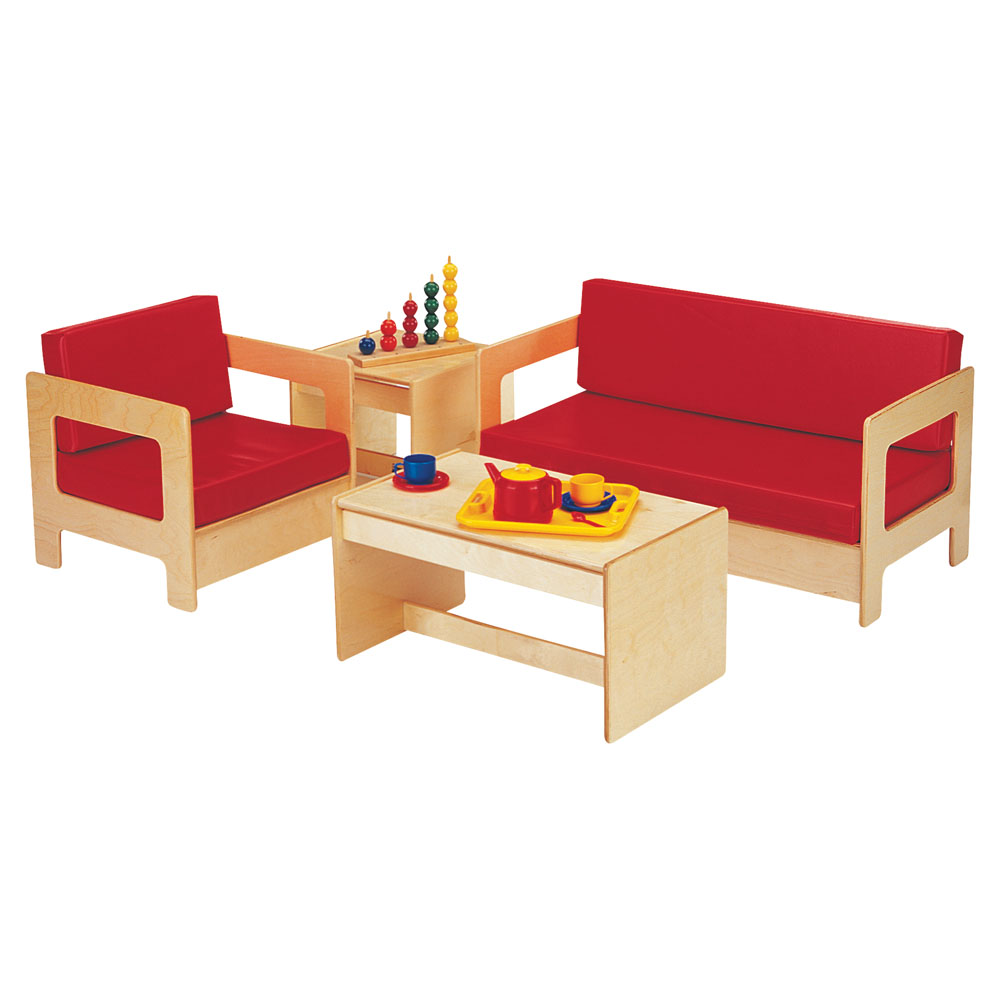 Jonti-Craft Kids Home Pretend Play Wooden Table Chair Sofa Living Room Furniture Set 4 Piece Red at Sears.com