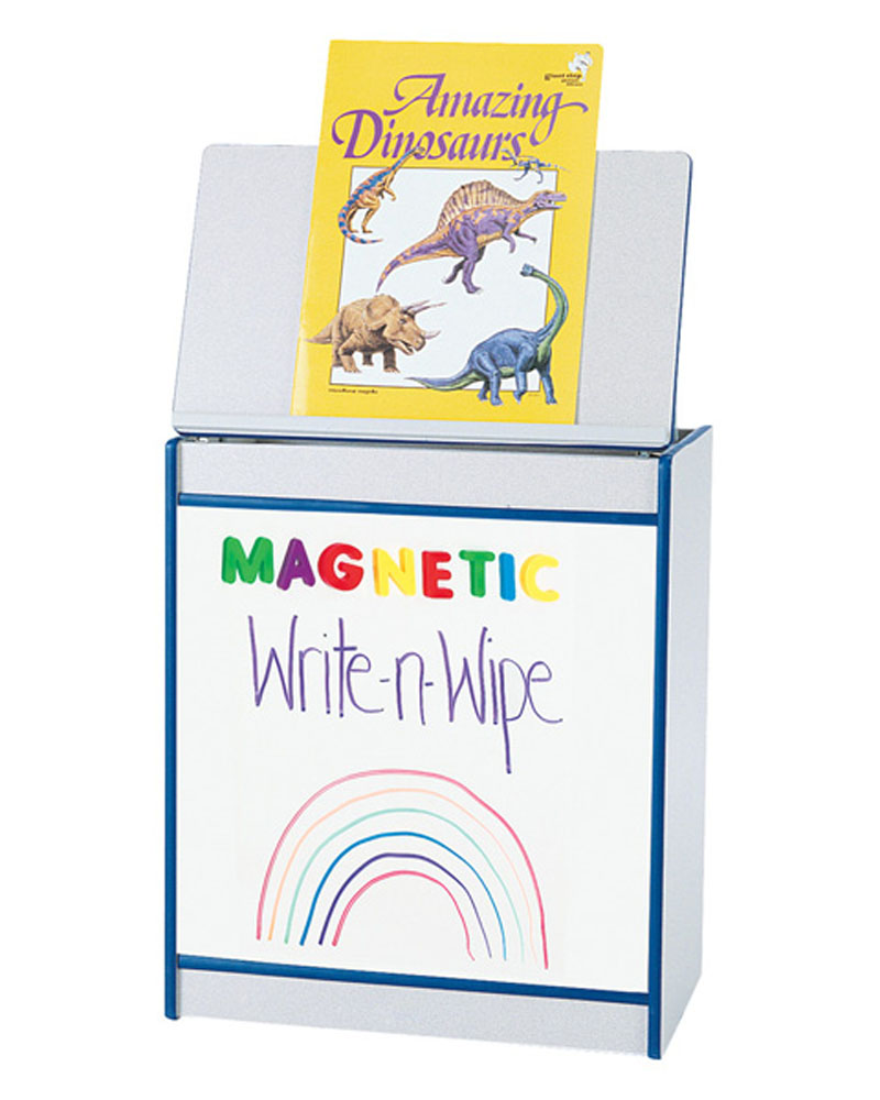 Offex Children Magazine Display Big Book Easel with Magnetic Write-n-Wipe Board - Blue