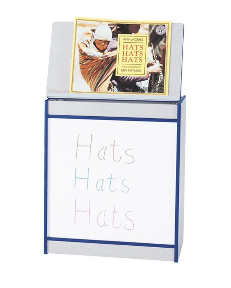 Offex Children Magazine Display Big Book Easel with Write-n-Wipe Board - Blue