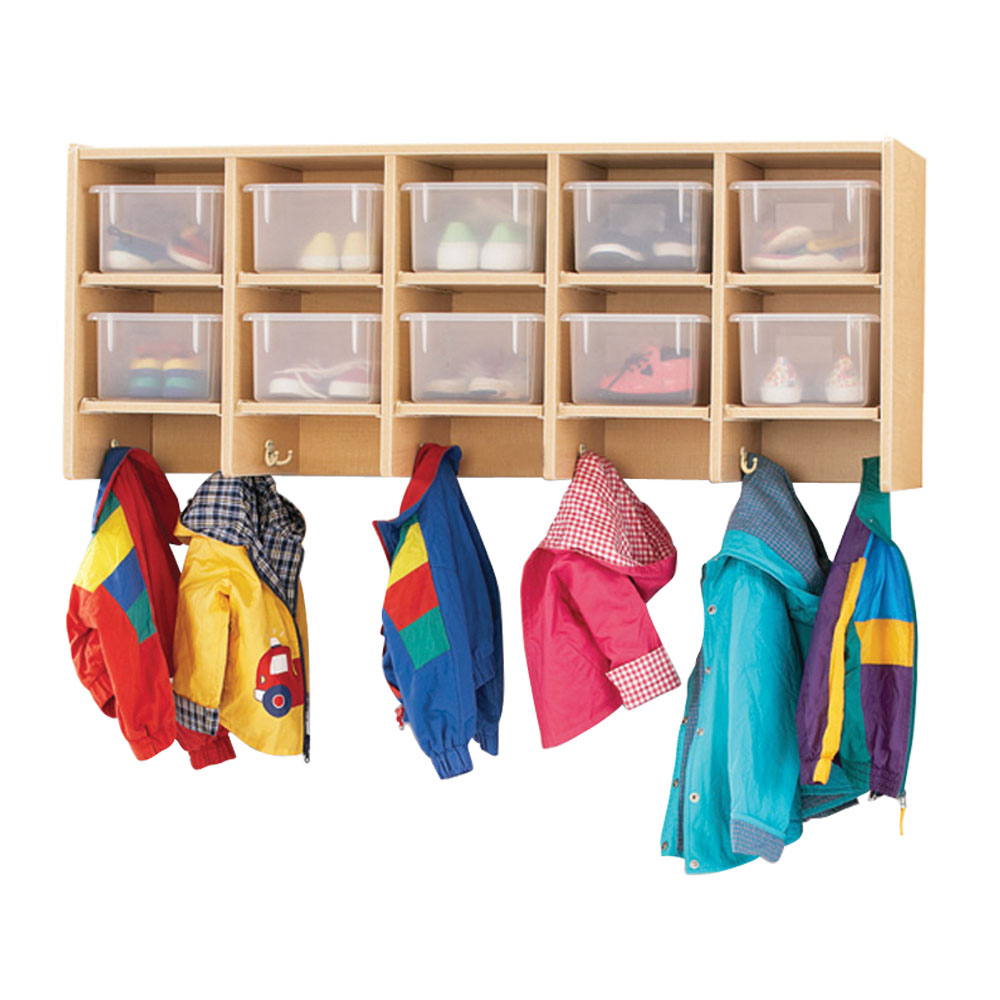 Offex Kids 10 Section Wall Mount Coat Locker - with Clear Trays