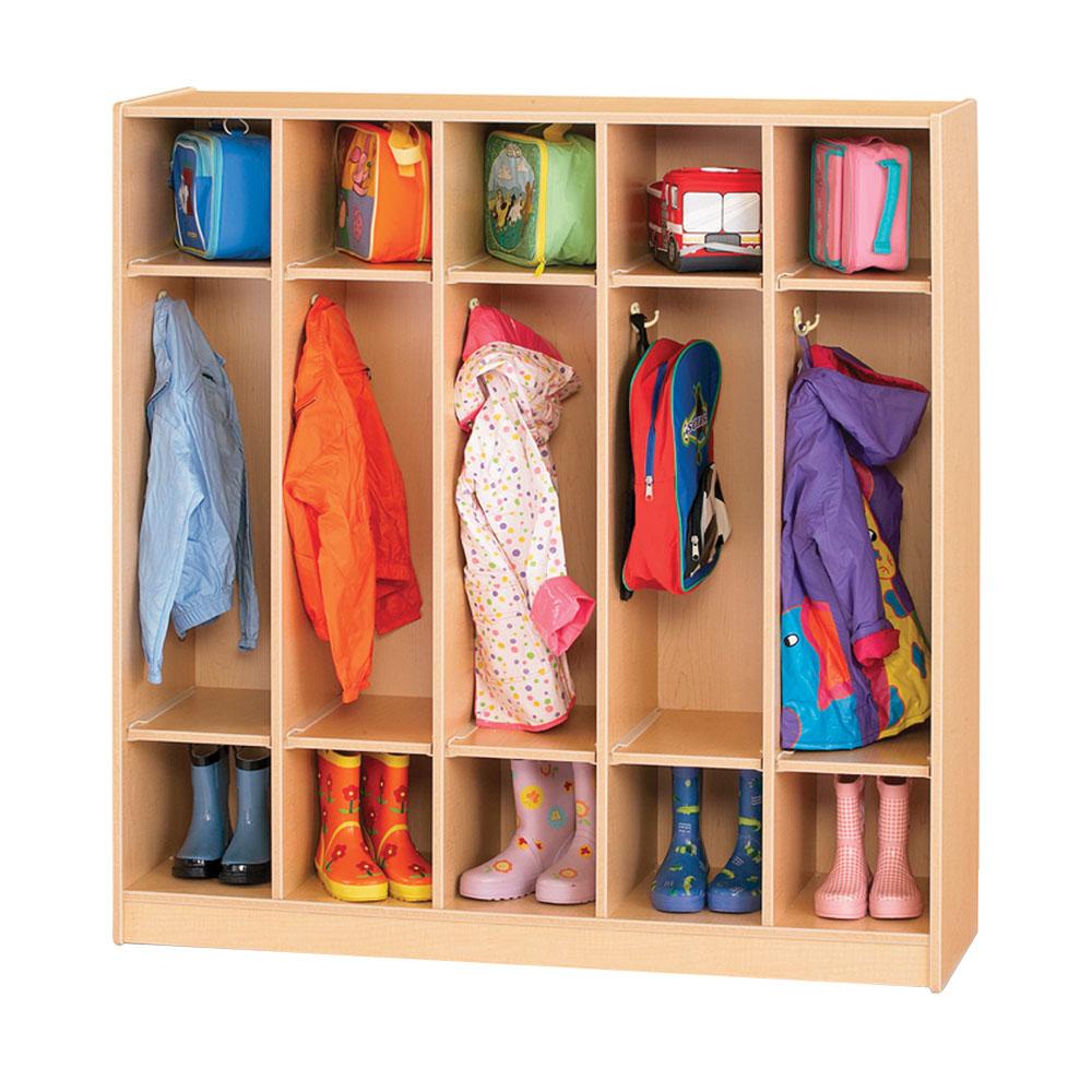 Offex School Kids Entryway Storage 5 Section Coat Locker