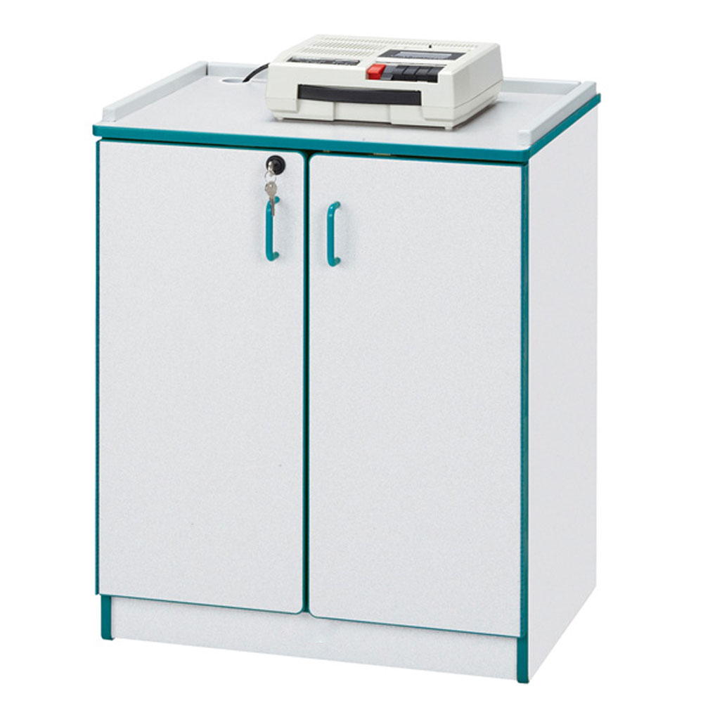 Offex School Audio Visual Electronic Equipment Storage Mobile Lockable Media Cart - Teal