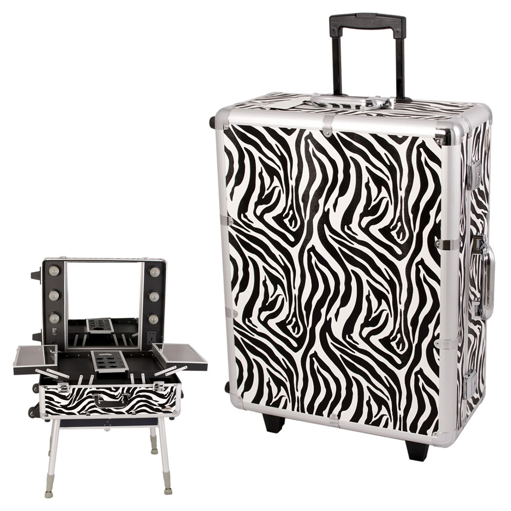 Sunrise Zebra Textured professional Wheeled Rolling Studio Makeup Train Case Lockable Bag With Lights And Mirror at Sears.com