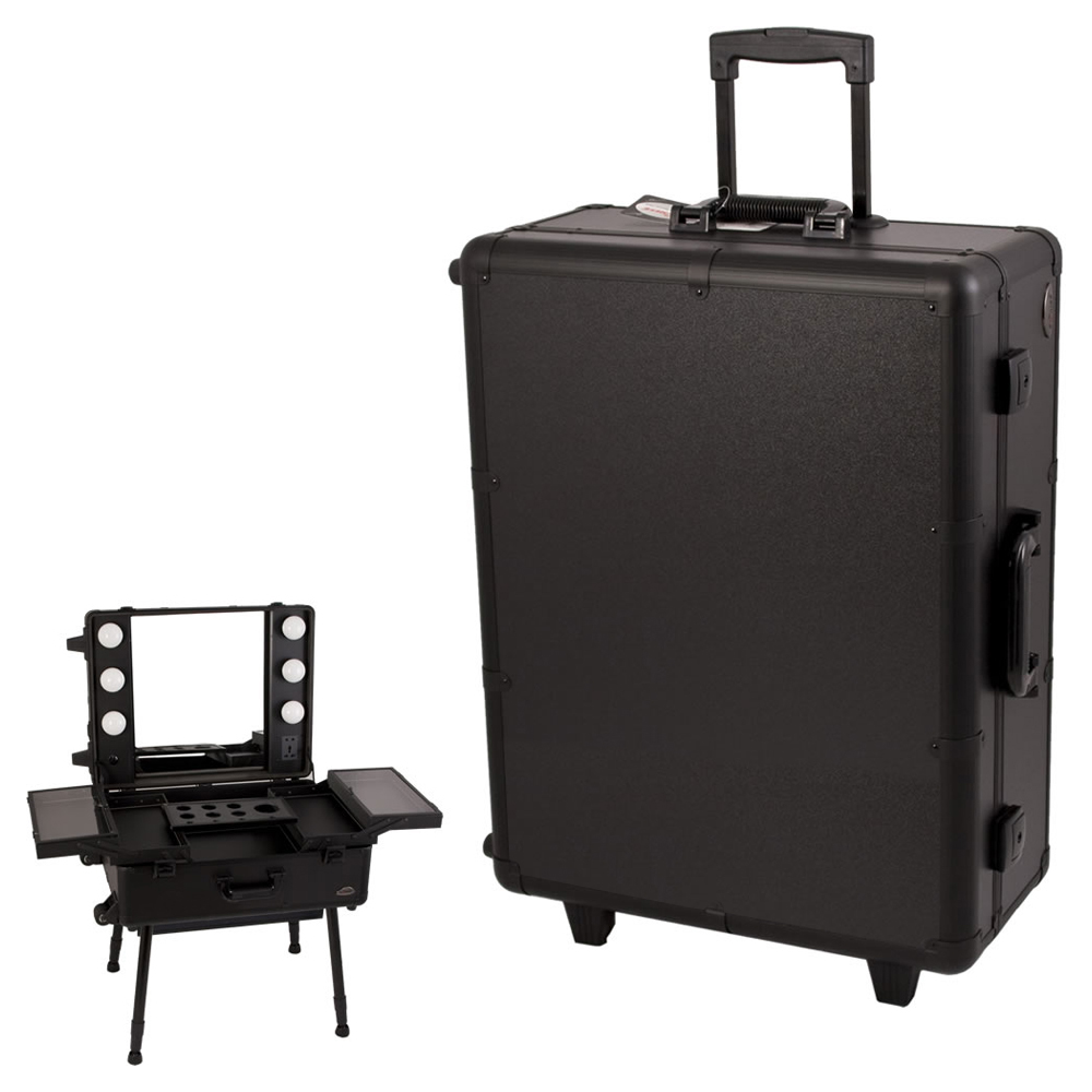 Sunrise All Black Professional Wheeled Rolling Studio Makeup Artist Case Lockable Bag With Led, Lights And Mirror at Sears.com