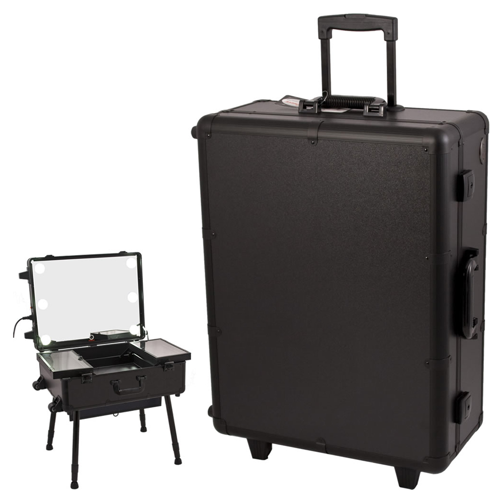 Sunrise All Black Professional Rolling Studio Makeup Case Organizer with Touchscreen Power Cool Led Lights, Legs And Mirror at Sears.com