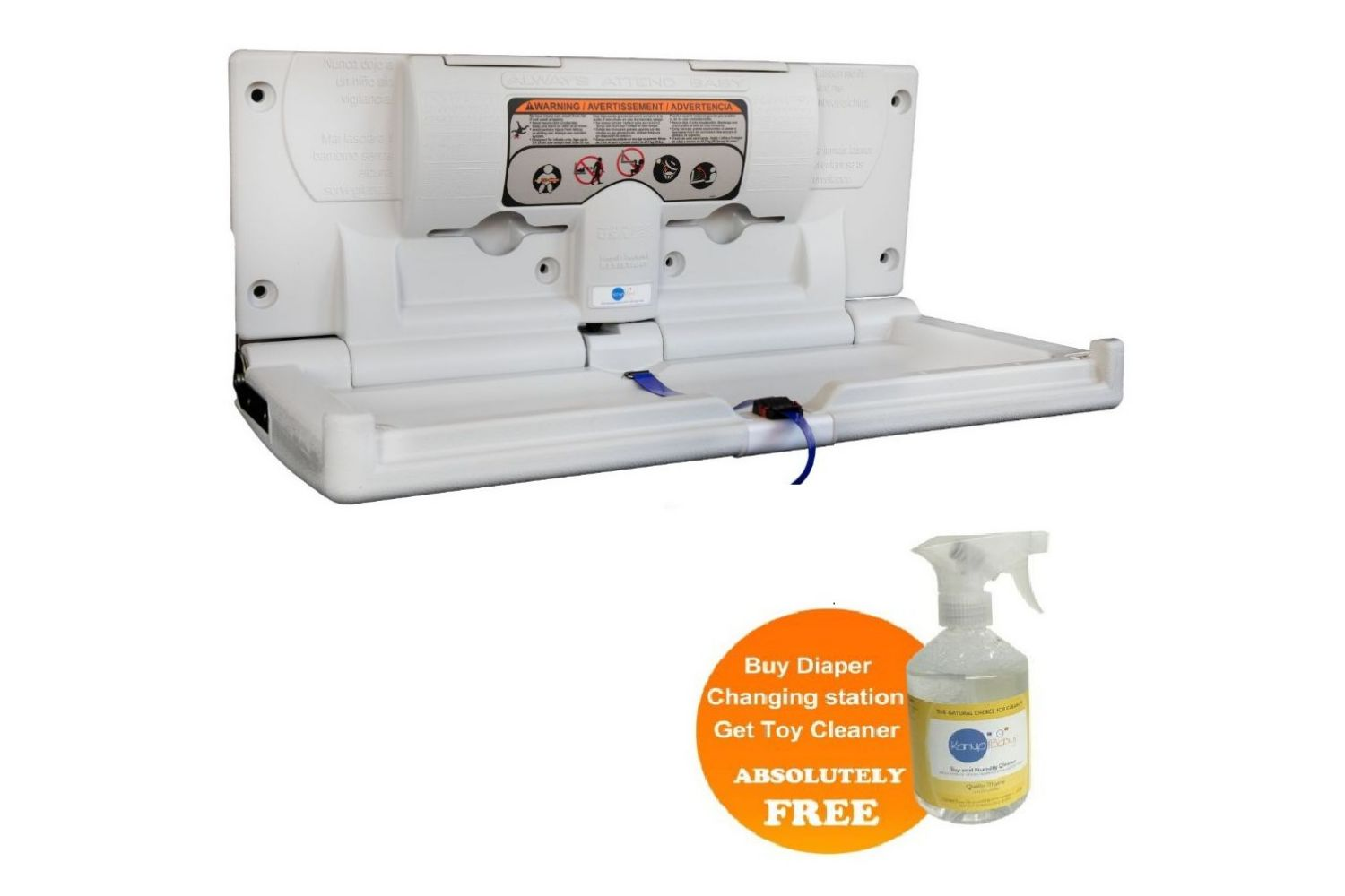 Karma Baby Horizontal Diaper Changing Station w/ a Free 1 Bottle of Natural Toy and Nursery Cleaner - 16 FL OZ