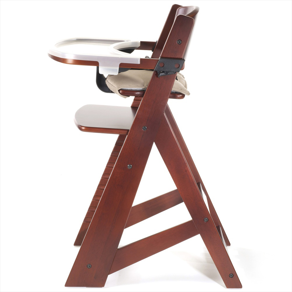 Adjustable Height Right High Chair With Tray Ideal For Children Mahogany