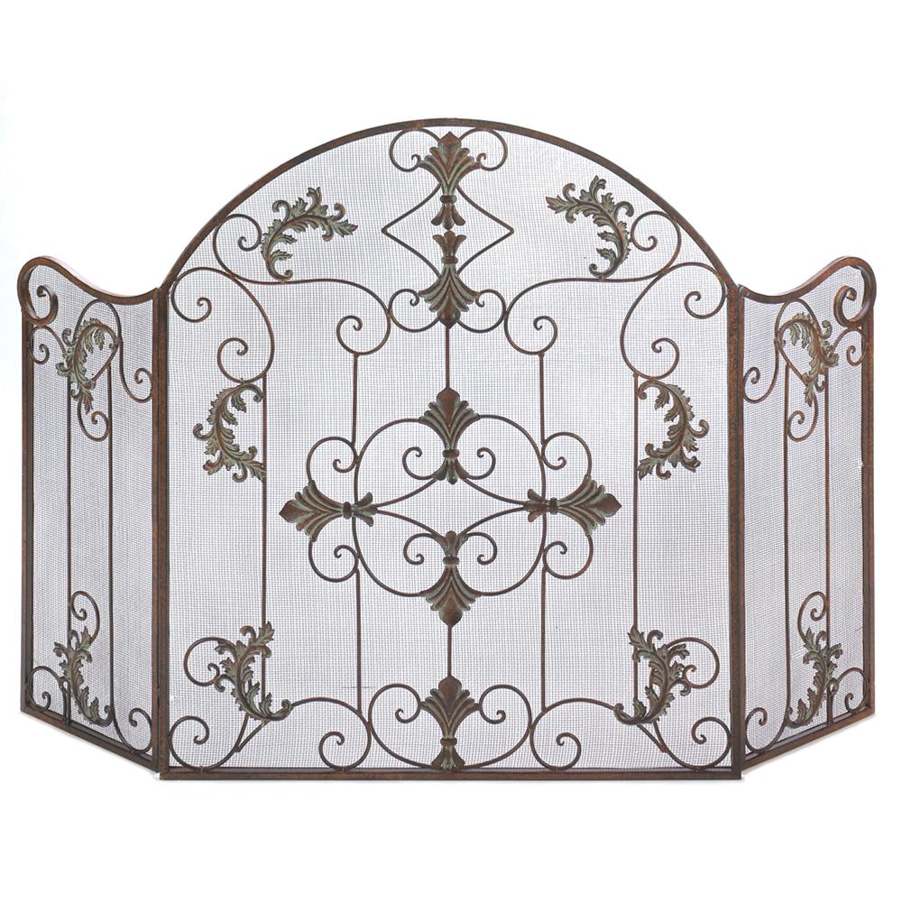 Koehlerhomedecor Vintage Rustic Iron Metal Florentine Design Folding Scrollwork Fireplace Screen
