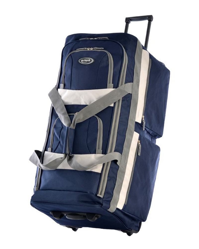 "Olympia 33"" 8 Pocket Rolling Wheeled Luggage Suitcase Travel Tote Duffel Bag Navy at Sears.com"