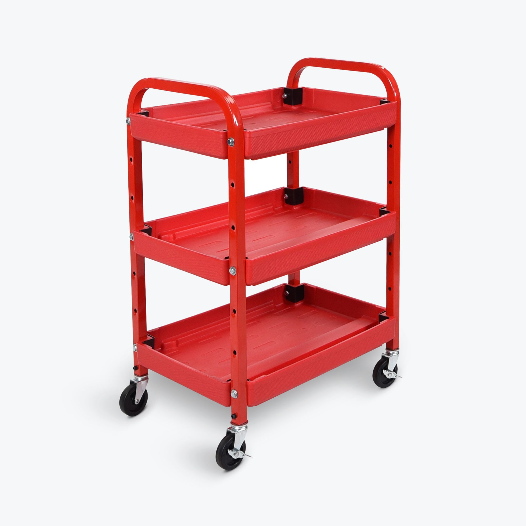 Luxor Multipurpose Home Office Mobile 3 Shelf AdjustableTuffy Storage Utility AV Metal Rolling Cart