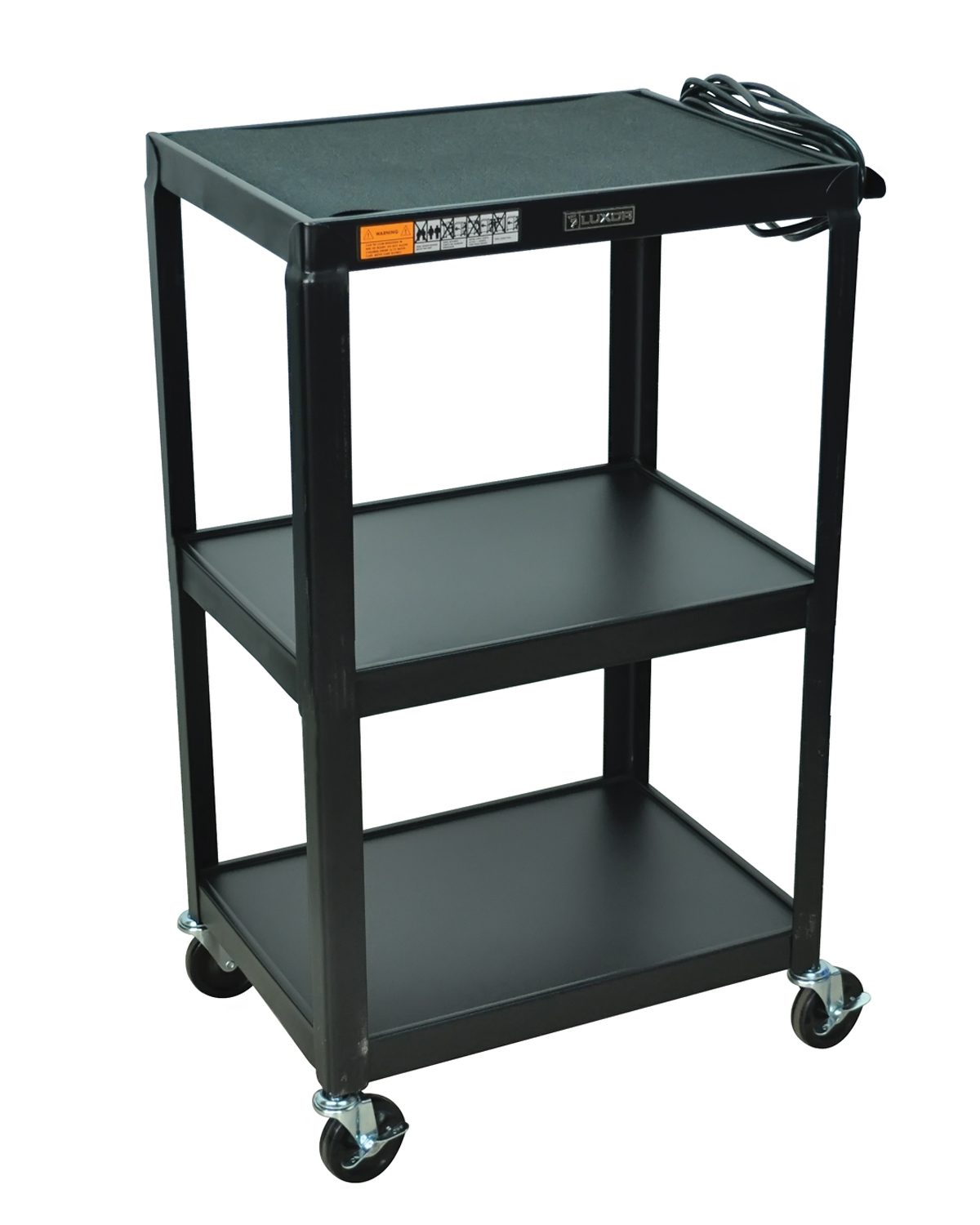 "Luxor 2 Steel Shelf Fixed Height Multipurpose Mobile Rolling Av Table Cart Black with 3 Electric Outlet 42""H at Sears.com"