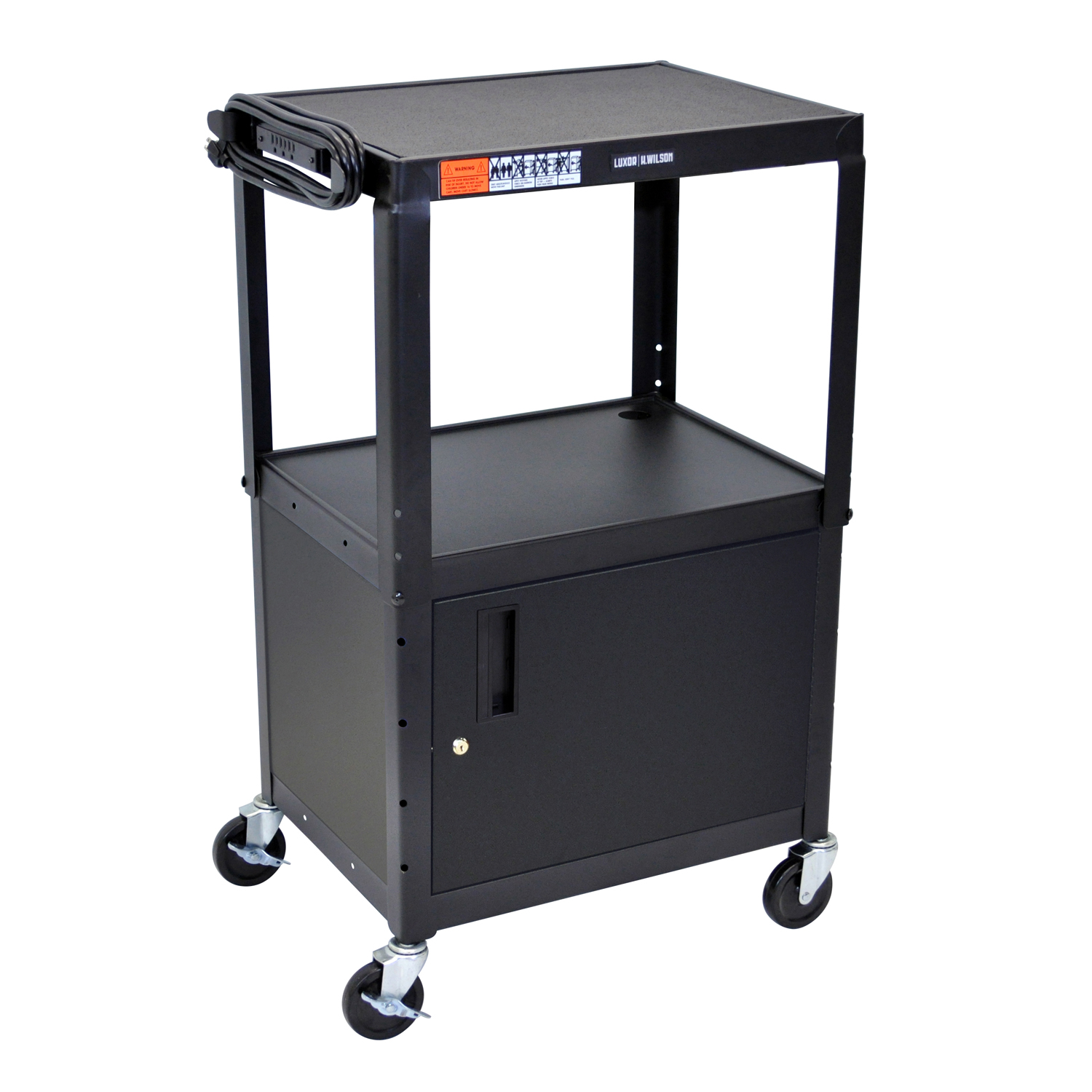 Luxor 42 Adjustable Height Metal Cart With Cabinet