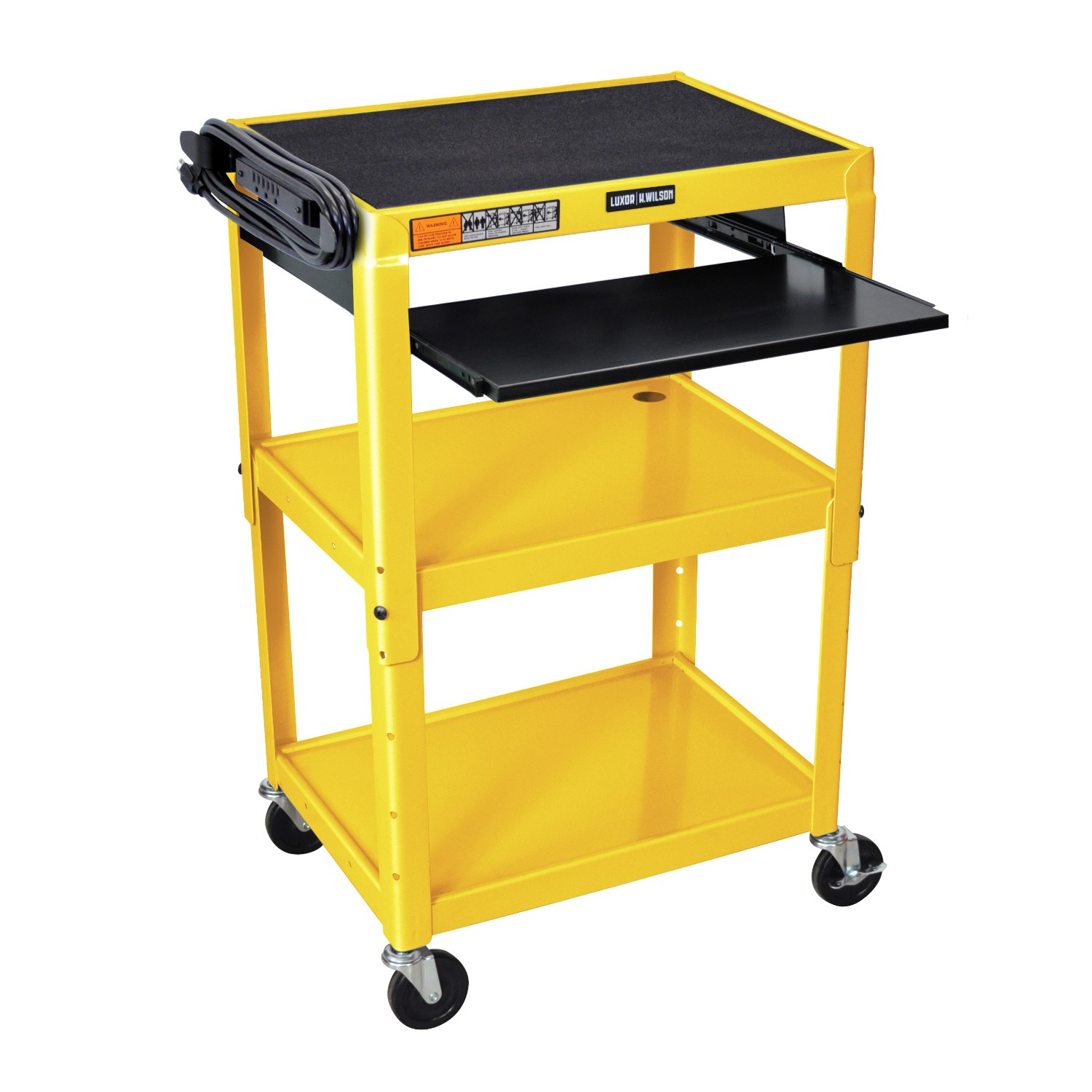 Offex Adjustable Height Steel Cart With Pullout Keyboard Tray Yellow