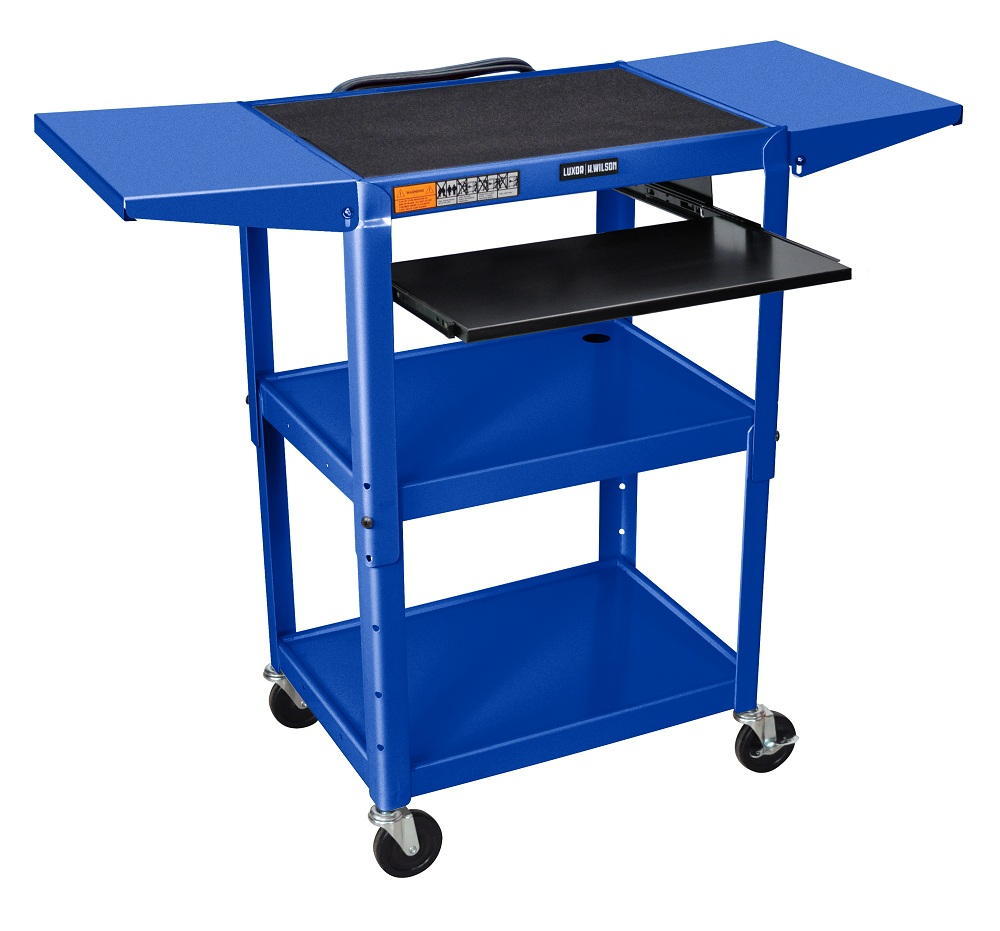"Offex Rolling  42""H Steel Height Adjustable AV Cart With Pullout Keyboard Tray And Drop Leaf shelves - Royal Blue at Sears.com"