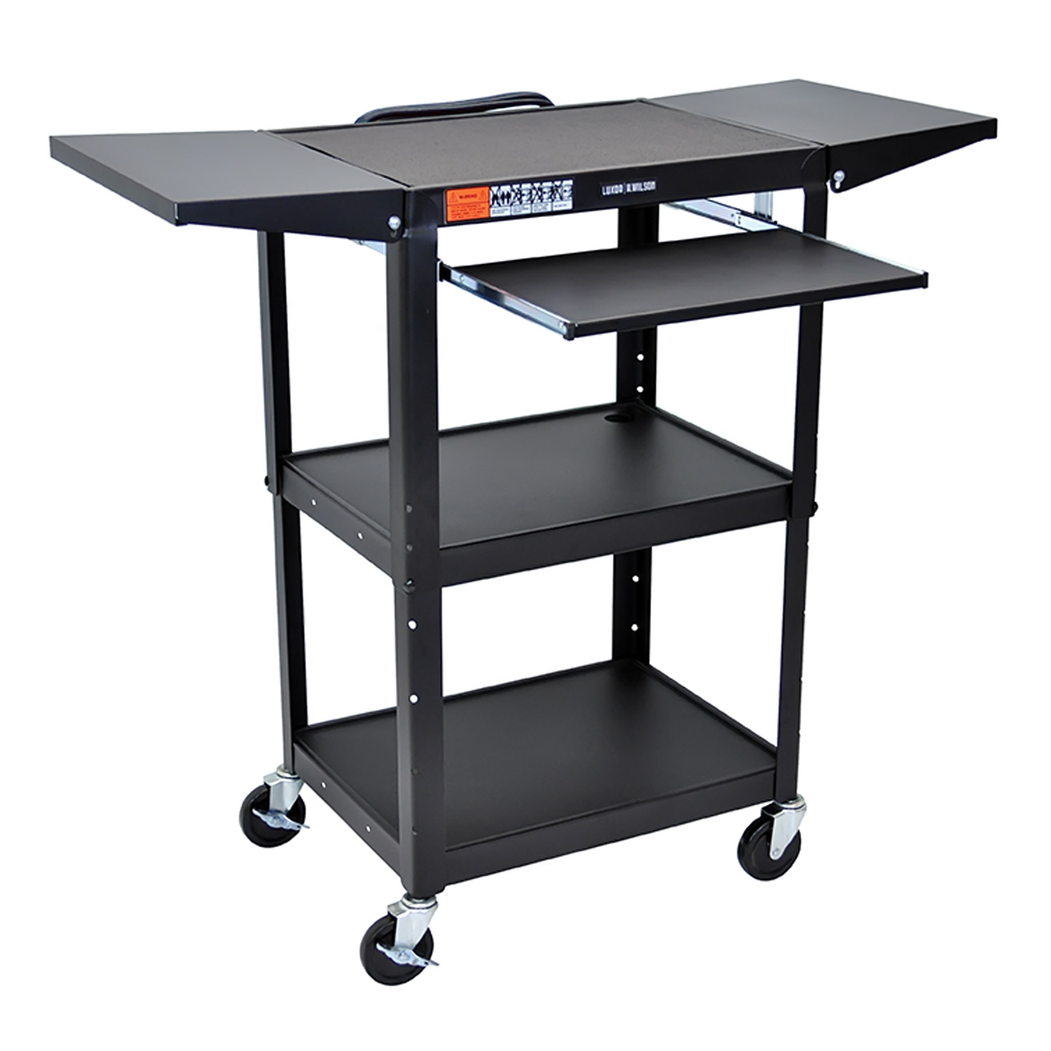 "Offex Rolling Multipurpose 42""H Steel Height Adjustable AV Cart With Pullout Keyboard Tray And Drop Leaf shelves - Black at Sears.com"