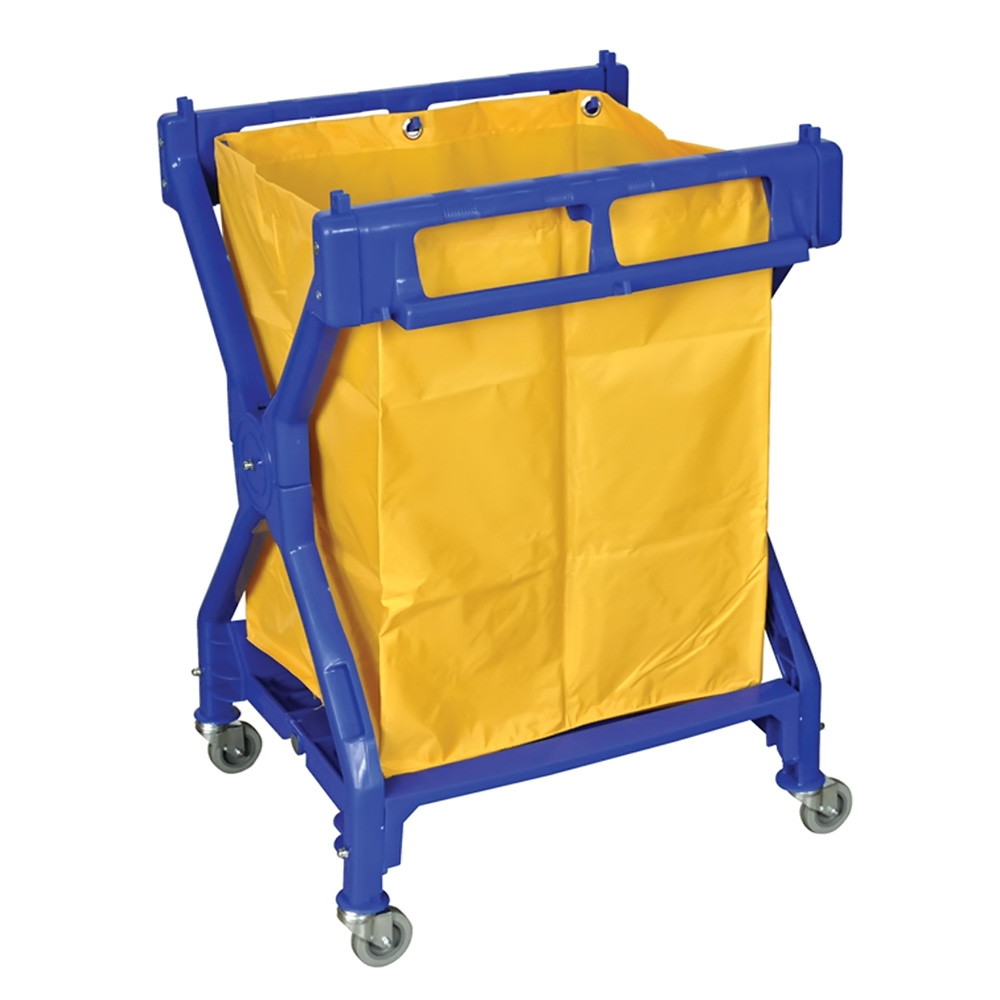 Offex Rolling Commercial Folding Heavy Duty Laundry Cart With Nylon Bag - Blue