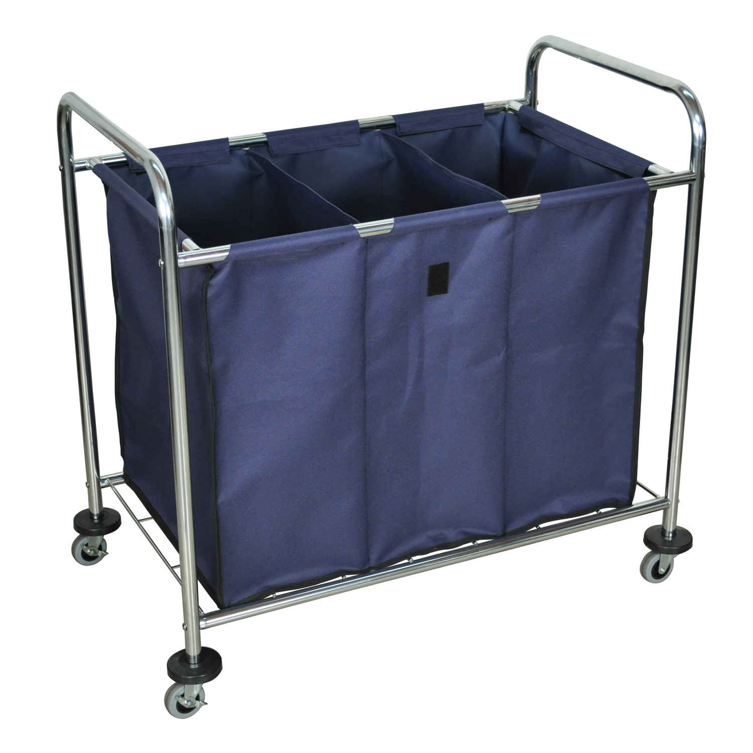 Offex Mobile Heavy Duty Industrial Laundry Sorter Cart With Triple Dividers Navy