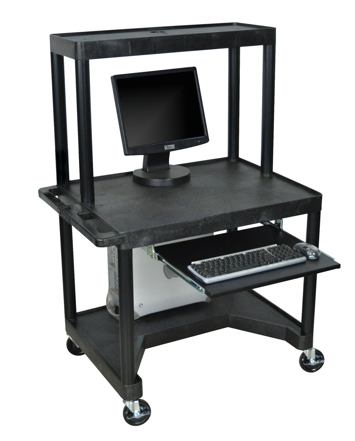 Offex Endura Mobile Computer Workstation / Desk With Plastic Shelf And Casters - Black at Sears.com