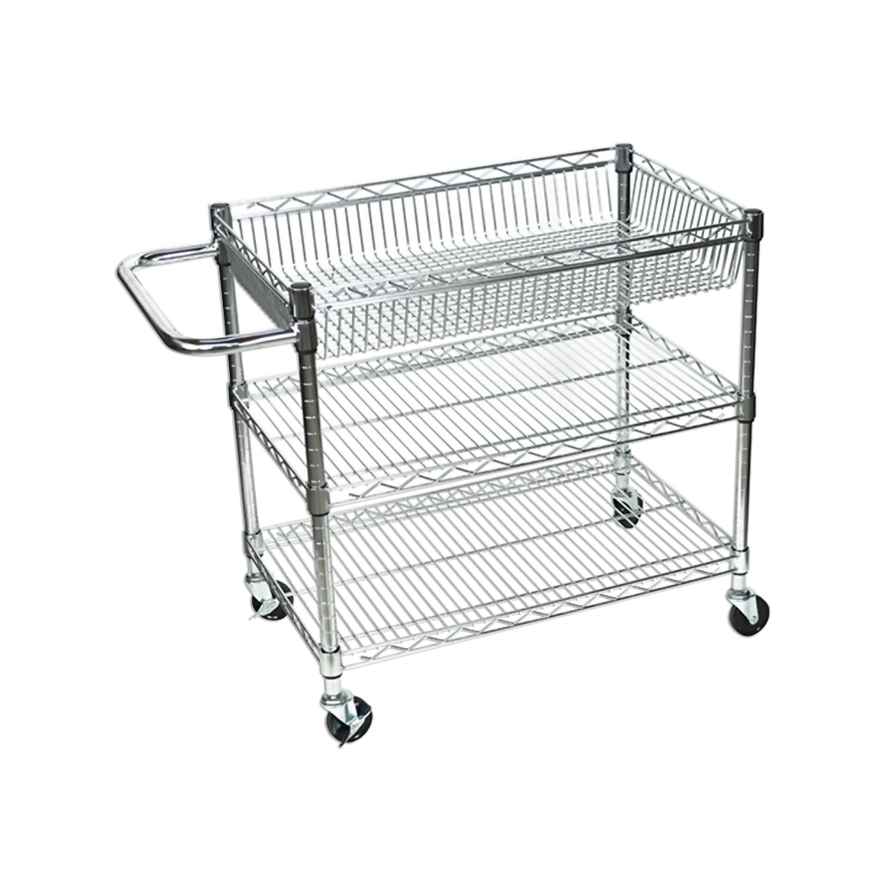 Offex Adjustable Mobile Chrome Three Shelf Wire Tub/Utility Cart