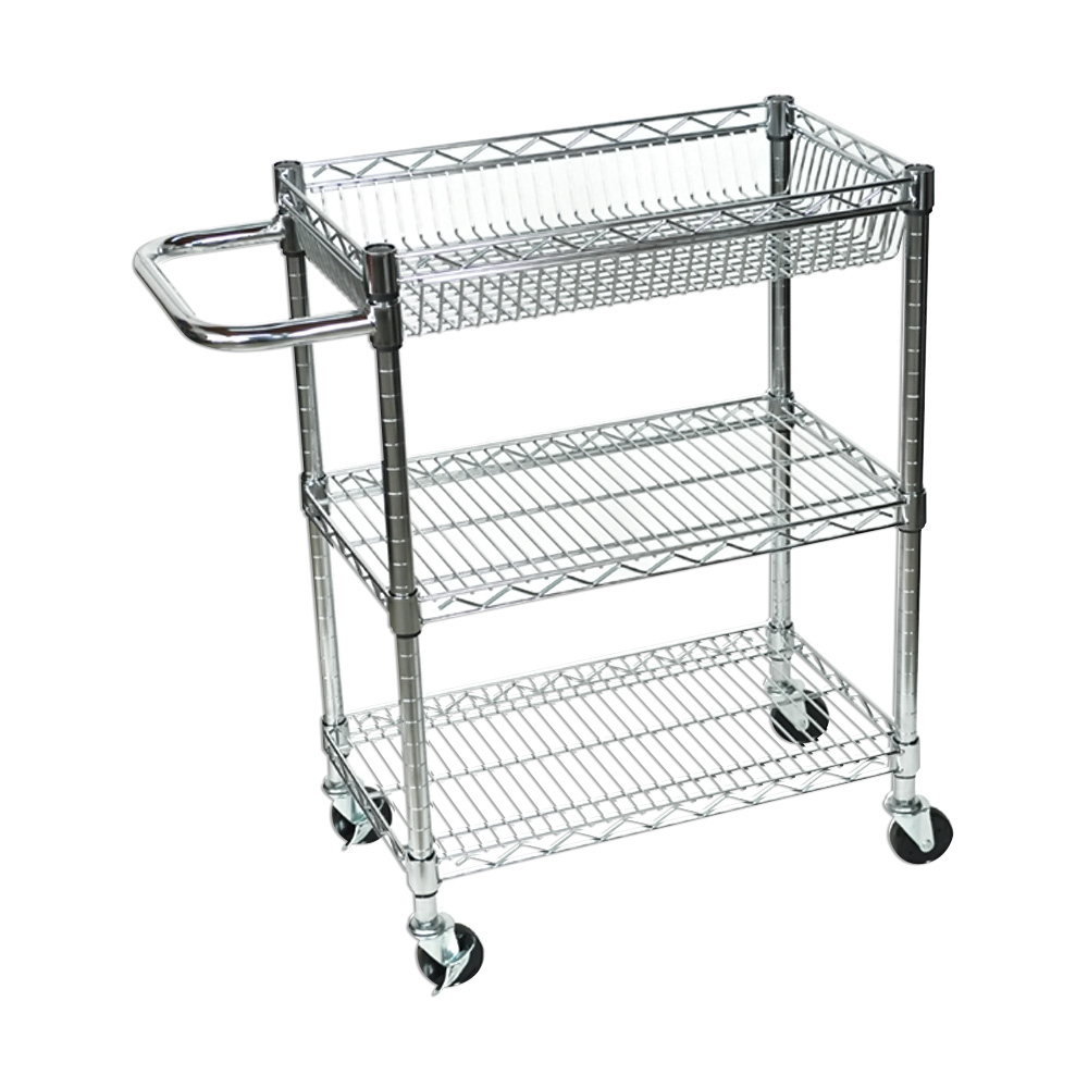 Offex Rolling Small 3 Shelf Wire Tub Heavy Duty Transport Utility Cart With 4 Casters - Nickel