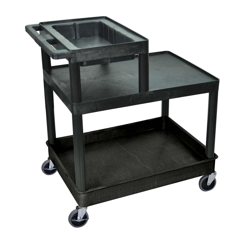 offex rolling 3 tub flat shelf plastic service utility. Black Bedroom Furniture Sets. Home Design Ideas