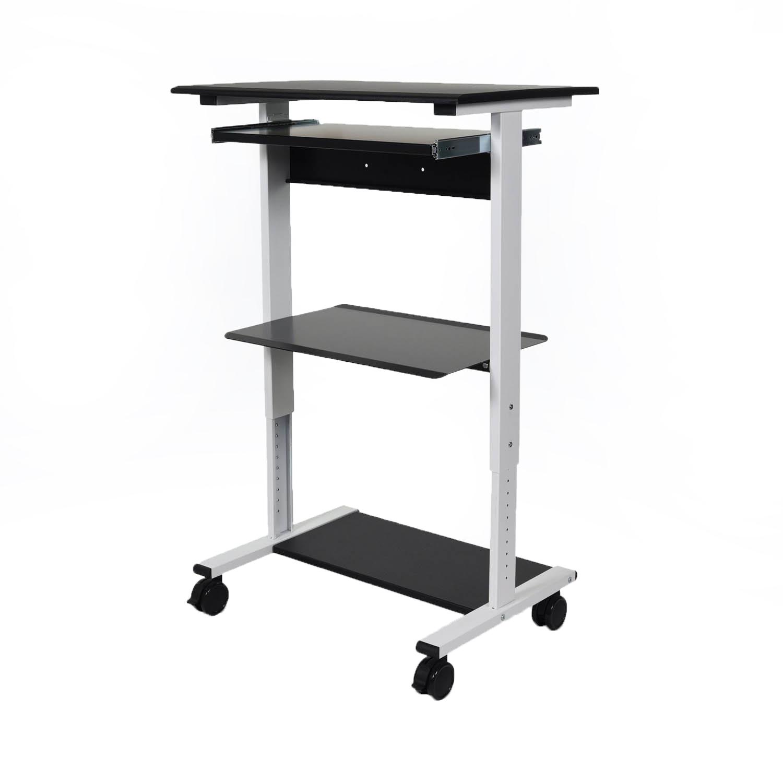 Offex 3-Shelf Adjustable Mobile Rolling Desk Stand Up Workstation