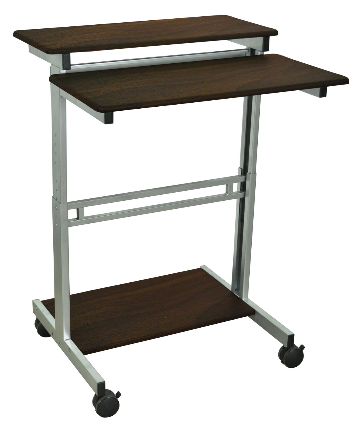 Offex 31.5 Home Office Computer Presentation Stand Cart With Silver Gray And Dark Walnut Shelves