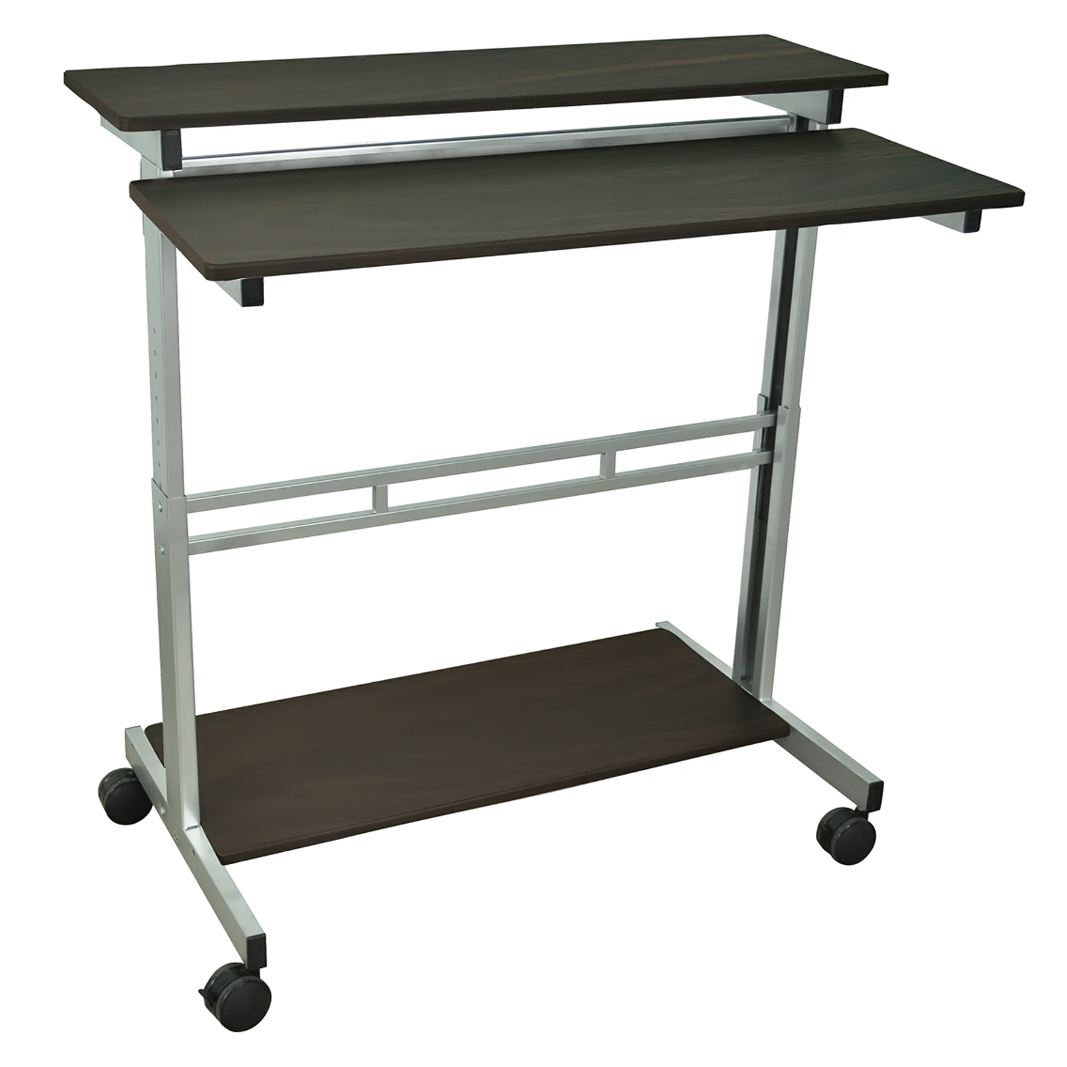 Offex 40 Home Office Computer Presentation Stand Cart With Silver Gray And Dark Walnut Shelves
