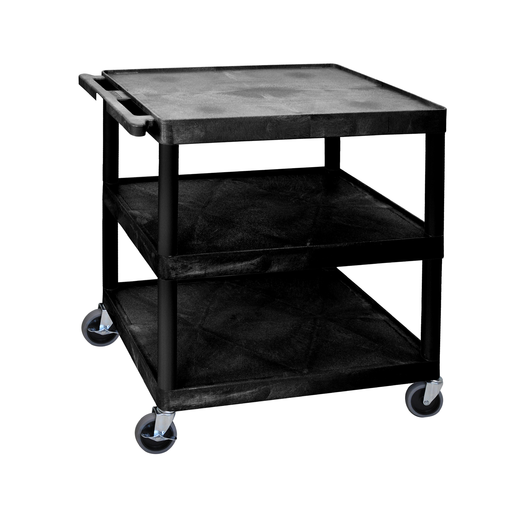 Offex Large Flat Shelf Cart Three Shelves