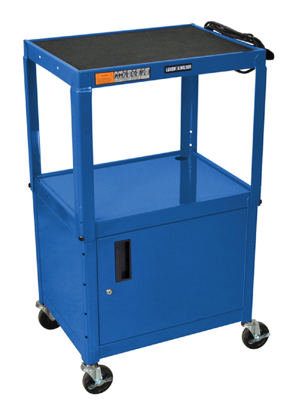 Offex Blue Rolling Height Adjustable Steel AV Storage Utility Cart With Lockable Cabinet, Electric, 4