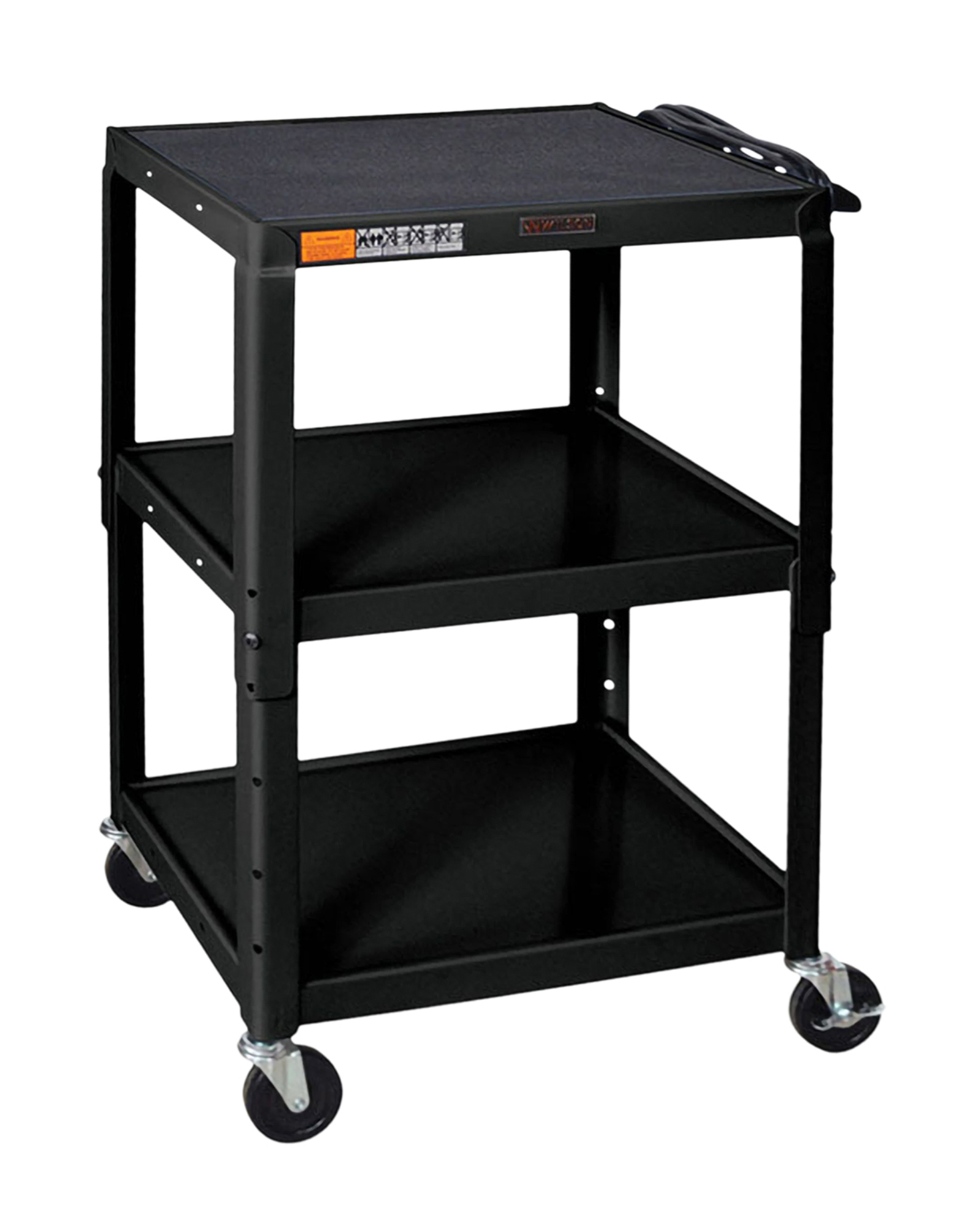 Offex Adjustable Height Steel Audio Video Cart - Three Shelves