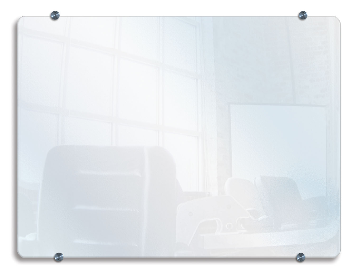 Offex Office Meeting School Classroom Wall-Mounted Wet Dry Erase Unframed Glass Board 40