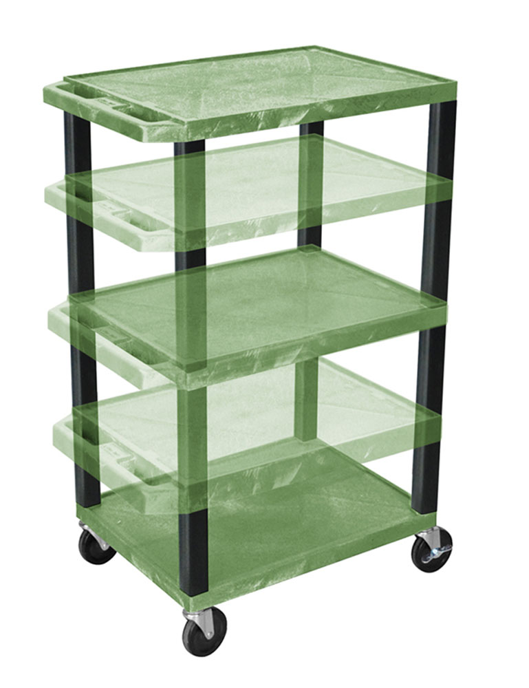 Offex Adjustable Height Green Tuffy Multi-Purpose Cart Black Legs