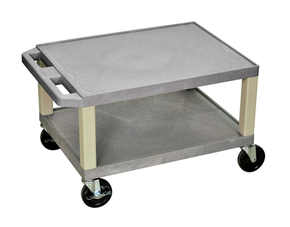 "Offex Rolling 16""H Tuffy AV Cart 2 Storage Shelf With Putty Legs, 4"" Heavy Duty Casters - Gray at Sears.com"