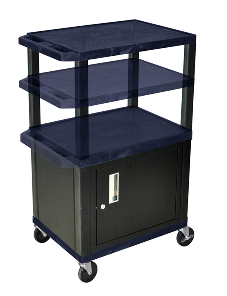 Offex Rolling Height Adjustable Tuffy Cart With Lockable Storage Cabinet, 3 Shelf, Black Legs, Electric, 4