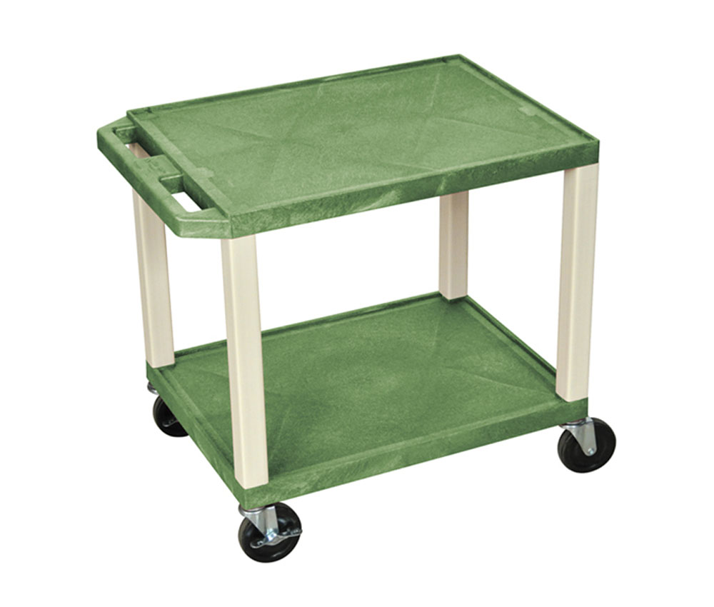 Offex Plastic Rolling Multi-Purpose AV cart Shelf Utility Storage Cart Green and Putty