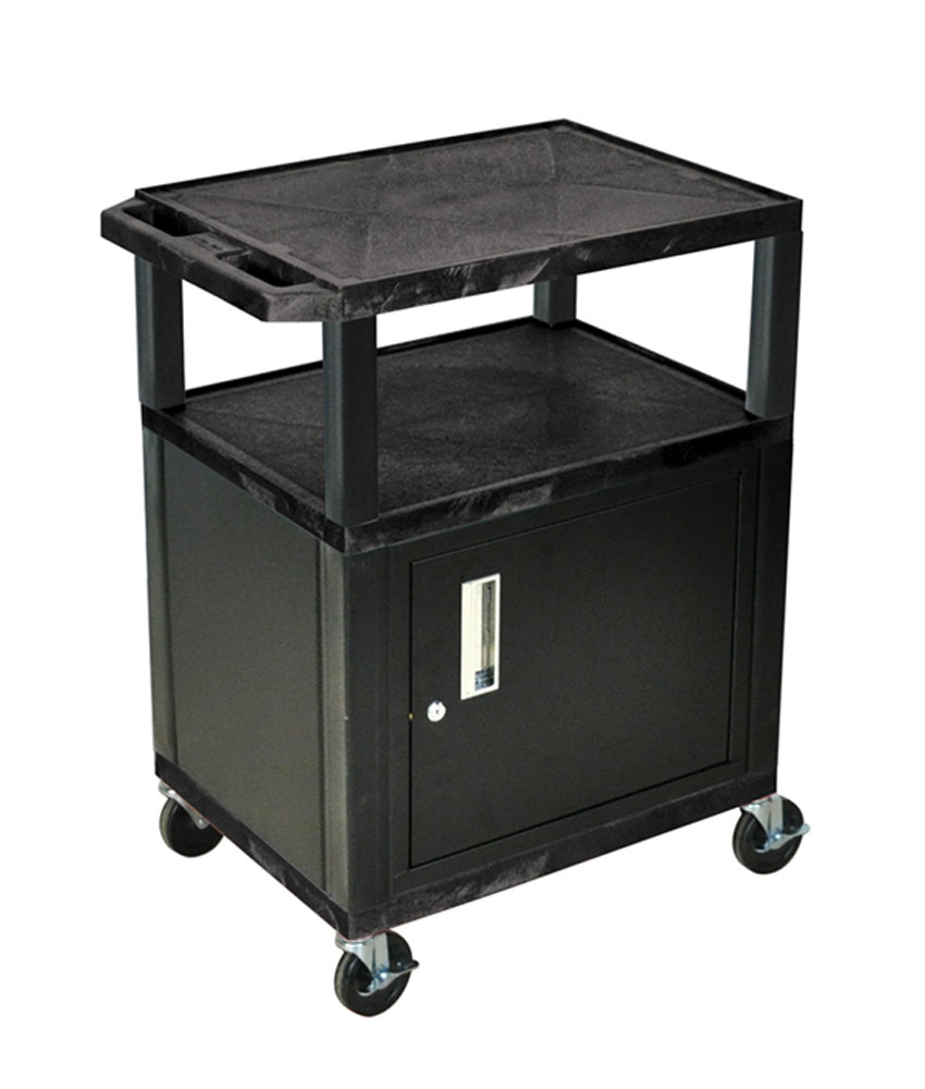 Luxor Gray Mobile Multipurpose Multimedia Presentation Portable Rolling Tuffy AV Cart With Lockable Storage 4 Tray Cabinet at Sears.com