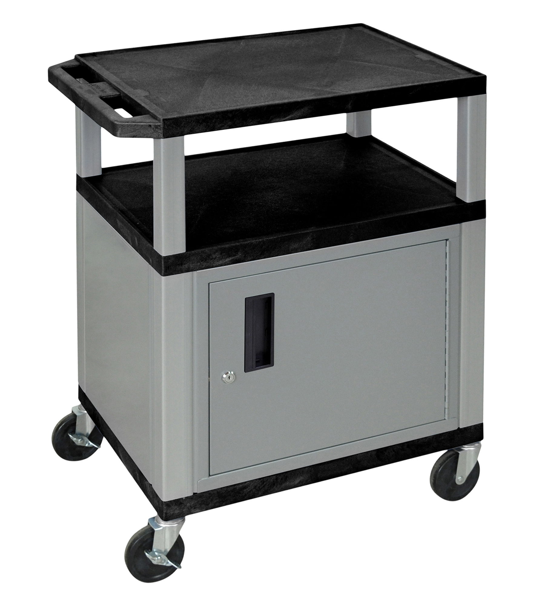 Offex Grey Tuffy Cabinet 34-inch Black Utility Storage Cart