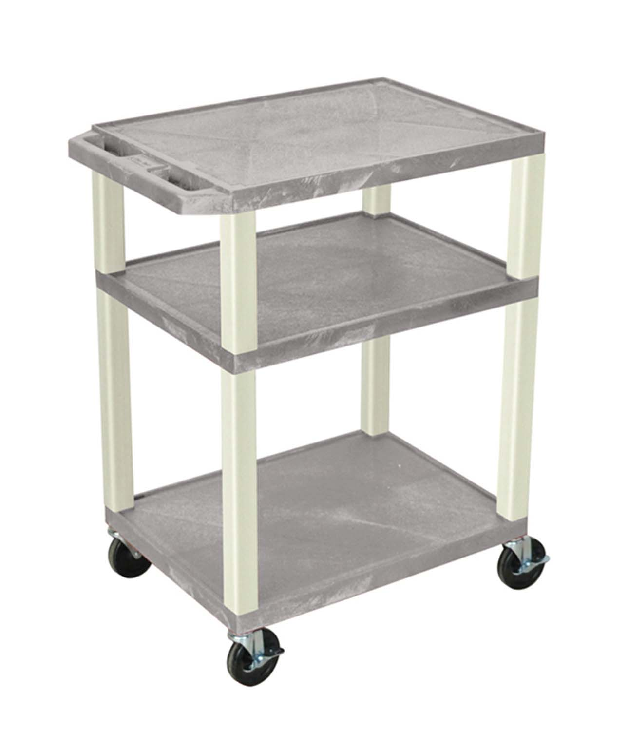 Offex Gray Tuffy AV Cart 3 Shelves Putty Legs